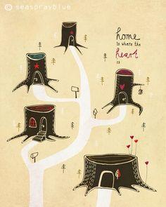 "Durck // Print ""Home is where the heart is"" by seasprayblue via DaWanda.com"