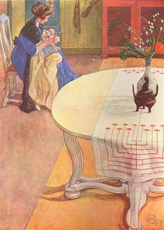 Carl Larsson - Gunlög With Her Mother