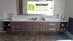 Floating Bathroom vanities by MasterKraft Home Interiors Floating Bathroom Vanities, Interior Work, Double Vanity, Boards, Interiors, Home, Planks, Ad Home, Decoration Home