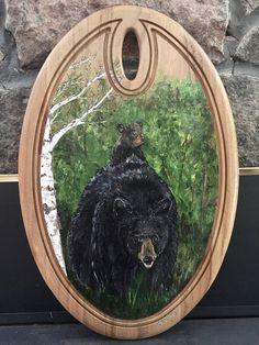 Mamma Bear and Cub Original Arcylic Painting on Wood Painting On Wood, Cubs, Etsy Shop, Bear, The Originals, Store, Handmade, Home Decor, Hand Made