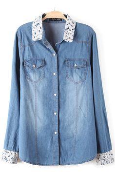 Lace white double pocket denim shirt nice
