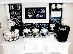 Junk Chic Cottage: * Chalkboard- for labeling* Coffee/Tea Bar * could add cookies/ snacks jar Coffee Area, Coffee Nook, Coffee Corner, Coffee Bar Station, Tea Station, Coffee Stations, Coffee Bars In Kitchen, Coffee Bar Home, Coin Café