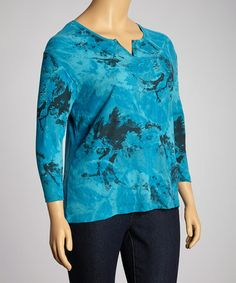 Look what I found on #zulily! Teal Leaf Tones Split Neck Top - Plus by Morning Sun #zulilyfinds