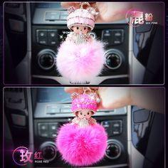 Monchichi Keychain Girl Crystal Rabbit Ball Fur Keychain Monchichi Sleutelhanger Fur Pom Pom Keychain porte clef For Bag