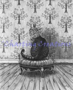 Cheshire Cat Art Print Alice in Wonderland Art Fantasy Art Wall Art Cheshire Cat Art, Original Artwork, Original Paintings, Magical Tree, Cat Art Print, Canvas Prints, Art Prints, Cat Gifts, Alice In Wonderland