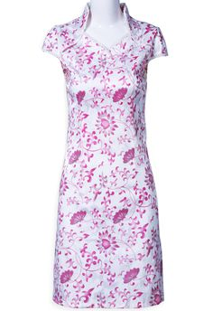 Whute Red Short Sleeve Slim Floral Dress