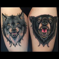 Wolf and Bear Tattoo Designs and Ideas Wolf Tattoos, Animal Tattoos, Tatoos, Tattoo Life, Tatuaje Stick N Poke, Traditional Tattoo Animals, Wolf Tattoo Traditional, Tattoo Avant Bras, Neotraditional Tattoo