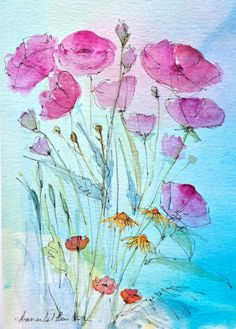 Original Water Colour Painting - Pink Flowers - Signed Annabel Burton .