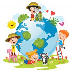Children having fun with earth Premium V. Kids Art Class, Art For Kids, Earth Day Clip Art, Save Environment Posters, Teacher Cartoon, Save Mother Earth, School Frame, Earth Day Crafts, Kids Vector
