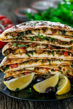 Turkish Gozleme with Lamb. Turkish Gozleme with Lamb savoury homemade flatbreads from scratch filled with ground lamb spices herbs and feta cheese. Turkish Recipes, Greek Recipes, Romanian Recipes, Scottish Recipes, Gozleme Recipe, Comida Pizza, Feta, Jo Cooks, Lamb Dishes