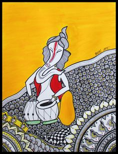 Geet Ganesh;  Geet means song in Hindi. In this painting, Ganesh is playing a musical instrument called Tabla, hence I gave the name Geet Ganesh. I chose yellow color because Ganesh is very fond of Laddoo (yellow colored sweet balls..something like a donut) which I have made as the background behind Ganesh. The color red symbolizes Kumkum/Vermillion. The rest of the patterns are inspired from zentangle and Madhubani art styles.