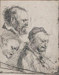 Rembrandt -  Three studies of old men's heads