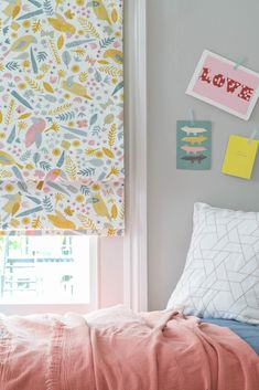 Roman blinds are great for creating a fuller, more luxurious look with interlining and reducing light in bedrooms with blackout linings. Childrens Blinds, Nursery Blinds, Kids Bedroom, Bedroom Ideas, Roman Blinds, Bedroom Lighting, Summer Sale, Gallery Wall, New Homes