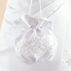 White Satin First Communion Dolly Bag with Crystals - Linzi Jay LD44 - Girls Traditional White First Communion Bag for 1st Holy Communion - First