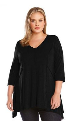 HANDKERCHIEF HEM BLACK PLUS SIZE TOPS 3/4 SLEEVE OUTSIDE SEAM TUNIC #Karen_Kane #Black #Handkerchief_Top #Comfy #Outside #Seam #Chic #Plus_Size_Tops #Plus_Size_Fashion