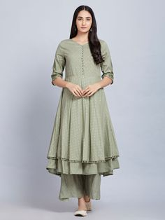 Olive Green Cotton Kurta with Palazzo- Set of 2 Salwar Designs, Kurta Designs Women, Kurti Designs Party Wear, Dress Indian Style, Indian Outfits, Dress Neck Designs, Blouse Designs, Kurta With Pants, Kurta Neck Design