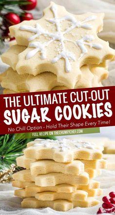 Chewy Sugar Cookies, Christmas Sugar Cookies, Yummy Cookies, Cookies Et Biscuits, Gingerbread Cookies, Christmas Cut Out Cookie Recipe, Best Cutout Cookie Recipe, Cut Out Sugar Cookies, Best Holiday Cookies