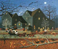 CHARLES WYSOCKI HALLOWEEN HELLRAISERS PASSING HOUSE OF GABLES AMERICANA ART
