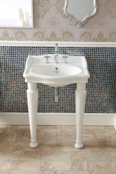 Silverdale Hillingdon 3 Taphole Console Basin with Leg Set Traditional Baths, Traditional Looks, Bathroom Basin Taps, Led Manufacturers, Console, Sink, Bathrooms, Storage, Elegant Designs