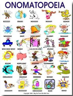 Onomatopoeia- Teaches students a new word using definitions  pictures (Precious Holmes)