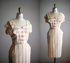 1950s dress / 50s embroidered cotton day dress by VacationVintage, $114.00