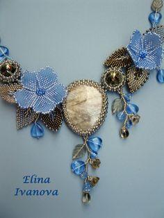Beaded Flower necklace exclusive handmade bib от Elinawonderland
