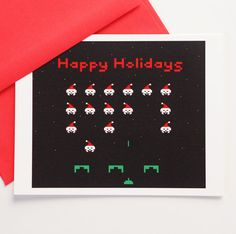 Space Invaders Happy Holidays Greeting Card (Set of 10) | Community Post: 23 Geeky Greeting Cards For The Holidays