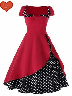 Polka Dot High Waisted Pin Up Dress Cheap fashion online retailer provides customers trendy and stylish clothing including different categories such as dresses, tops, swimwear. Pin Up Dresses, Cheap Dresses, Pretty Dresses, Beautiful Dresses, Girls Dresses, Mode Outfits, Stylish Outfits, Dress Outfits, Fashion Outfits