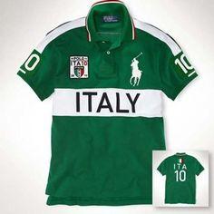 ffc5069d3f39 scudo italia in verde polo ralph lauren uomo:Shirt bavero T-shirt da Uomo