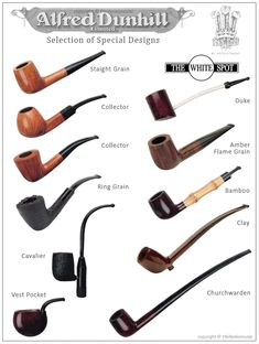 Alfred Dunhill Selection of Special Designs (copyright Pfeifenkonsulat) Wooden Smoking Pipes, Tobacco Pipe Smoking, Tobacco Pipes, Good Cigars, Cigars And Whiskey, Pansy Tattoo, Dunhill Pipes, Cool Pipes, Wooden Pipe