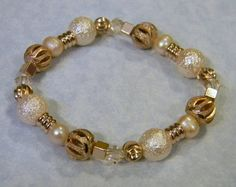 Rose Gold Bead, Pearl, Crystal & Acrylic Stretch Bracelet