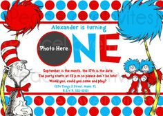 dr seuss cat in the hat birthday invitation