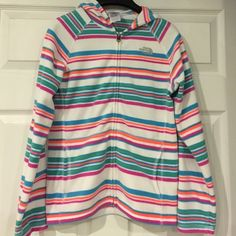 North Face Striped Fleece Hoodie North Face Full Zip fleece striped hoodie! Excellent Condition-maybe worn once-no flaws,pilling etc.... North Face Tops Sweatshirts & Hoodies