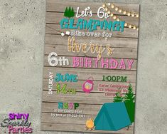 Glamping Birthday Invitation - Camping Invite for a girl - Sleepover - Camp In - Slumber Party Invite - Spa Party - Teen Birthday Camping Invitations, Slumber Party Invitations, Birthday Invitations, Invites, Camping Parties, Slumber Parties, Glamping, Girl Sleepover, Teen Birthday
