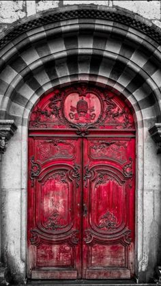Using a piece of thin plywood, create a gothic design with decor mouldings, air dry clay, red chalk paint, and black wax over top. Hang thin plywood design over front door for a gothic doorway entrance. Cool Doors, The Doors, Unique Doors, Windows And Doors, Front Doors, Grand Entrance, Entrance Doors, Doorway, Door Entryway