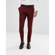 ASOS Wedding Super Skinny Suit Trousers in Wine Herringbone (525 SEK) ❤ liked on Polyvore featuring men's fashion, men's clothing, men's pants, men's dress pants, red, mens herringbone pants, asos mens pants, mens skinny pants, mens super skinny dress pants and mens red dress pants