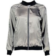 Boohoo Emilia Reversible Satin Bomber | Boohoo (429.600 IDR) ❤ liked on Polyvore featuring outerwear, jackets, bomber jacket, bomber style jacket, double face jacket, reversible jacket and satin jackets