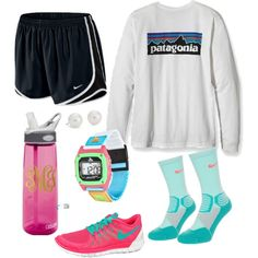 Hiking in style by floralmermaid on Polyvore featuring polyvore, fashion, style, NIKE and Blue Nile