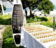 love the surf board | CHECK OUT MORE IDEAS AT WEDDINGPINS.NET | #weddings #uniqueweddingideas #unique