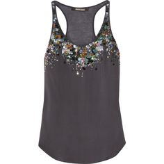 Roberto Cavalli Sequin-embellished silk and modal tank ($360) ❤ liked on Polyvore featuring tops, shirts, tank tops, tanks, blusas, sequin top, sequin tank, dark grey shirt, silk top и sequin shirt