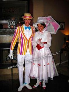 Homemade Mary Poppins and Burt Couple Costume: MARY POPPINS COSTUME:  SHIRT - I already had a white shirt that I had been saving (for years) with this costume in mind.  I sewed thrift store lace around