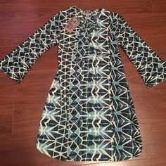 """NWT Anthropologie Bell Sleeve Shift Dress Brand New w/ Tags! Anthropologie Thereal Blue, Teal and White Bell Sleeve, Shift Dress. Lace up, corset top. Size Small. Measurements: Length 34"""" Anthropologie Dresses"""