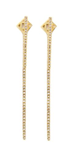 These elegant fourteen karat yellow gold earrings feature 027 carats of diamonds set in two delicate rows