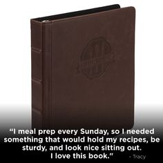 Meal prep, plan, and execute! Keep it all together here. Leather Binder, Best Meal Prep, Book Binder, Food Stands, Recipe Organization, Recipe Cards, Unique Vintage, My Recipes, Family Meals