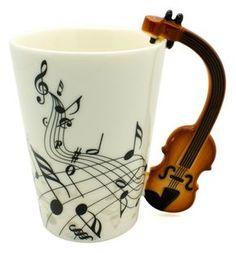 taza-con-mango-de-violin-y-notas-musicales-ondulantes-14888-MLM20090666919_052014-F Cute Coffee Mugs, Cool Mugs, Coffee Cups, Clay Cup, Cute Cups, Novelty Mugs, Coffee And Books, Grandpa Gifts, Fimo Clay