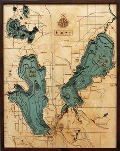 "BURT & MULLET LAKES, Michigan 24.5"" x 31"", Laser-Cut, 3-Dimensional Topographic Wood Chart/Lake Art Map on Etsy, $248.00"