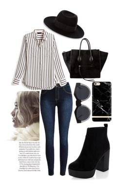 """""""Stripes"""" by littleredskirt ❤ liked on Polyvore featuring White House Black Market, New Look, CÉLINE, Maison Michel, Le Specs, outfit and spring2016"""