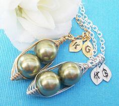 Sweet Peas In A Pod Necklace Swarovski Pearls by Kikiburrabeads, $18.50