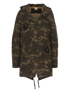 TRUE RELIGION Parka Hand Embroidered Green Camouflage Camouflage cotton parka