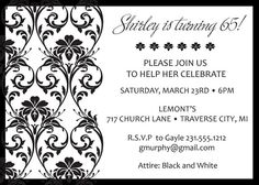 Ornate Damask Birthday Invitations  Adult by AnnounceItFavors, $18.00